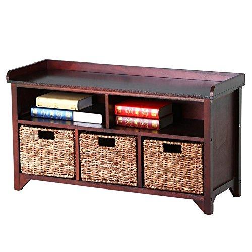 go2buy Antique Wood Storage Bench Shoe Storage Rack with Rattan Baskets Organizer Cube Dark Brown