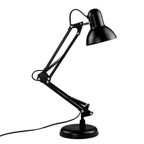 Basong Black Adjustable Desk Lamps Student Study Eye-Caring Light Swing Arm Desk Lamp