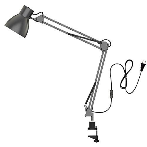 ToJane Swing Arm Desk LampArchitect Desk Clamp Mounted Light Adjustable Arm DrawingOfficeWorkbench Table LampGrey Metal Finish