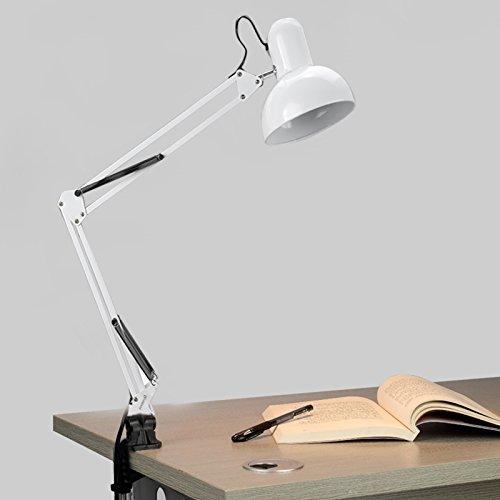Swing Arm Desk Lamp Adjustable Arm Drafting Lamps Eye Care Clamp Table Desk Lamp Portable Table Lamp Book Lamp Computer Desk Light for Home Office Workshop Bed Room Men Children Kids