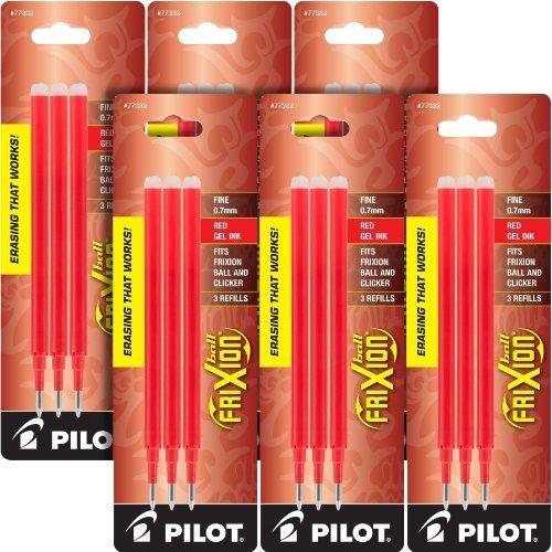 Pilot Gel Ink Refills for FriXion Erasable Gel Ink Pen Fine Point Red Ink 18 total refills