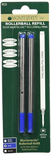 Monteverde Soft Roll Cartridges 2 Piece Pack Medium Tip Blue Ink Refill for Montblanc Rollerball Pens M232BU