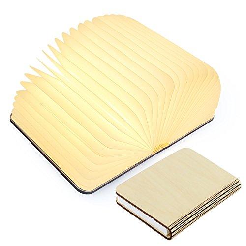 USB Rechargeable Wooden Folding LED Book Light for DeskTableWallDecor Magnetic Lamp 1700mAh Lithium Batteries Desk Table Lamp Warm White Light Best Gift for Student Novelty Book Style LED Light