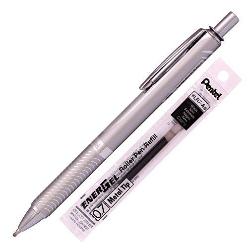 Pentel Energel Alloy RT Gel Pen Medium Point Metal Tip Ballpoint Pen Black ink  Refill Silver Body