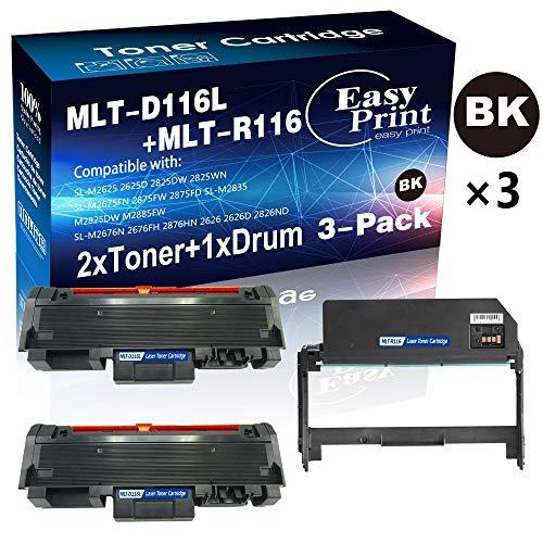 3-Pack 2 Toners  1 Drum Compatible 2-Pack 116L D116L Toner Cartridge MLT-D116L 1-Pack DR116L Imaging Unit MLT-R116L Used for Samsung SL-M2625D M2825DW M2875FW M2875FD M2835 M2885FW Printer by E