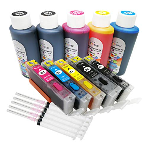Fink Prefilled Refillable Ink Cartridges and 5 Bottles Ink Replacement for Canon PGI-250XL CLI-251XLWorks with PIXMA MX922 MG7520 MG5520 MG5420 MG6620 MG5620 IP7220 IX6820 MG6420 MX722 MG5422 MG5522