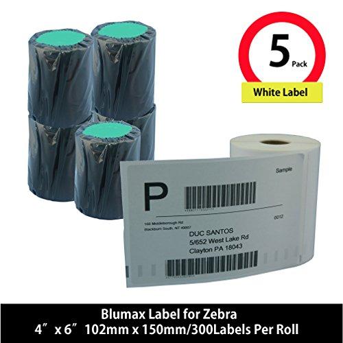 Blumax 5 Rolls Compatible 4 x 6 Zebra Direct Thermal Shipping Labels for Zebra Desktop Printer GC420d GC420t GK420d GK420t GX420d GX420t GX430t LP2844 LP2442 TLP2844 ZP450 ZD500 ZD500R ZP500 ZP505