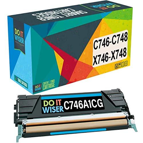 Do it Wiser Compatible Toner Cartridge Replacement for Lexmark X746de C746 C748 XS748de X748de C746dn C746A1CG Cyan