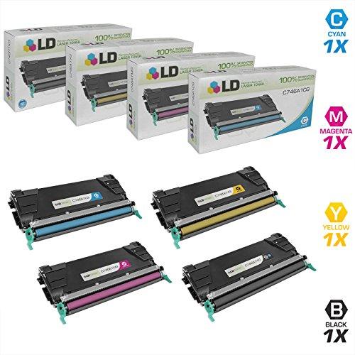 LD Remanufactured Toner Cartridge Replacement for Lexmark C746 C748 Series Black Cyan Magenta Yellow 4-Pack