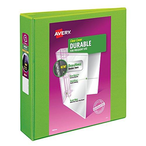 Avery Durable View Binder 2 Slant Rings 500-Sheet Capacity DuraHinge Green 17838