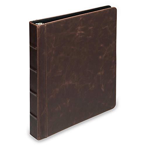 Samsill Vintage Hardback Book BinderProfessional Binder OrganizerPlanner Binder  1 Inch 3 Ring BinderDark Brown No Zipper Letter Size