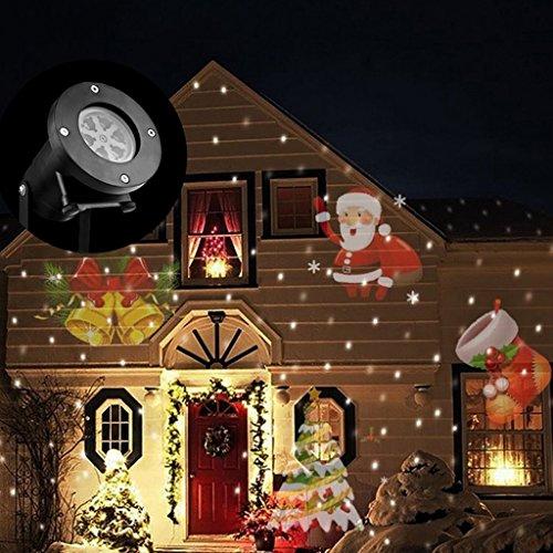 BushYou LED Spotlight Christmas Party Waterproof Projector Rotating Landscape Lamp 12 Switchable Pattern