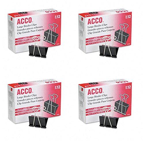 ACCO Binder Clips Large 12 Clips  Box 4 Pack A7072100B-AZ