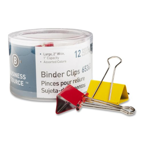 Business Source Large Binder Clips - Pack of 12 - Assorted Colors 65363