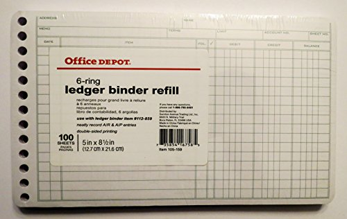100 Sheet 6 Ring Ledger Binder Refill 5x 85 Office Depot