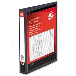 5 Star Presentation Ring Binder PVC 4 D-Ring 38mm Size A4 Black Pack 10