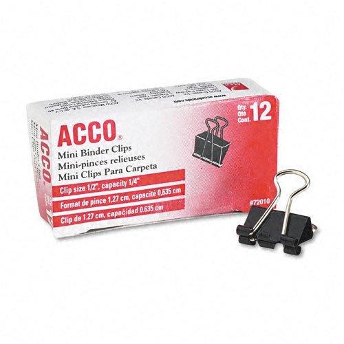 ACCO  Mini Binder Clips Steel Wire 14 Cap 12w BLKSilver Dozen -- Sold as 2 Packs of - 12 -  - Total of 24 Each