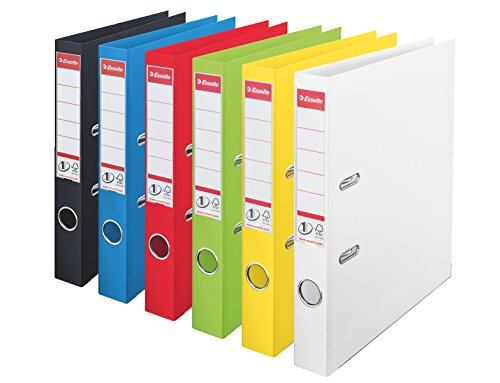 Esselte No 1 Power Lever 624162 Pack of 10 Ring Binders Assorted Colours Vivida Polypropylene 50 mm