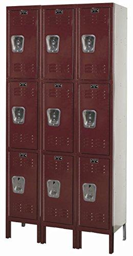 Hallowell Unassembled Triple Tier Locker Three Wide Pr3T3W121224 Nmbr Of Openings 9 Opening Sz Wxdxh 12X12X24 Color Grey Pr3T3W121224