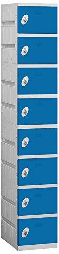 Salsbury Industries 98168BL-U Unassembled Eight Tier 1275-Inch Wide 73825-Inch High 18-Inch Deep Plastic Locker Blue