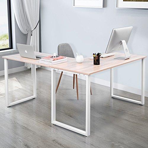 L-Shaped Office Workstation 59 Computer Desk Corner Desk Home Office PC Wood Laptop Table Study Desk