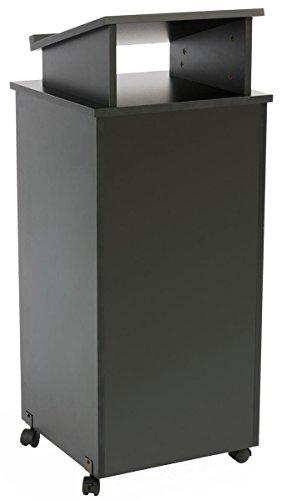 Displays2go Rolling Wood Podium 44 Inch H Locking Wheels 2 Shelf Open Cabinet Top Surface with Lip Black LCTTBLRLSB