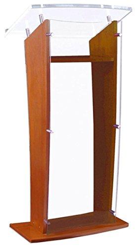 Displays2go Wood Podium Acrylic Front Panel 4875 Tall Interior Shelf Maple CVWDLCTMP