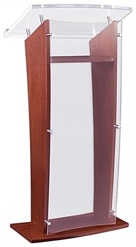 Fixture Displays 24 Wood Podium with Acrylic Front Panel Reading Surface 4875 tall - Mahogany 19646 19646
