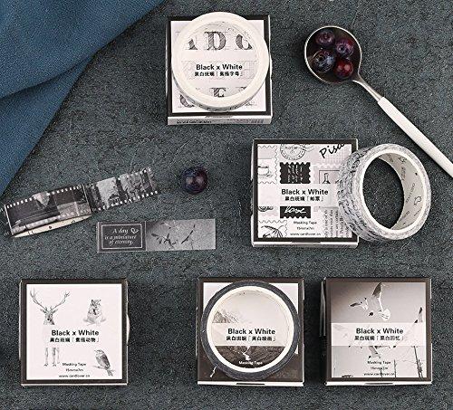 Bblythe 12 Rolls Washi Tape Set Black and White Masking Tape Sticky Paper Tape for DIY Decorative Craft Gift Wrapping Scrapbook Washi Tapes Vintage Stamp Postmark Letter Animal Panda Music