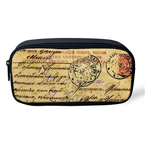 Postmark Printed Pen Pouch Kids Students Simple Pencil Case Makeup Brushes Bags