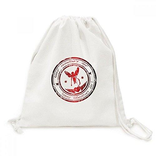 Postmark Valentines Day Angel Elf Canvas Drawstring Backpack Shopping Travel Lightweight Basic Bag Gift