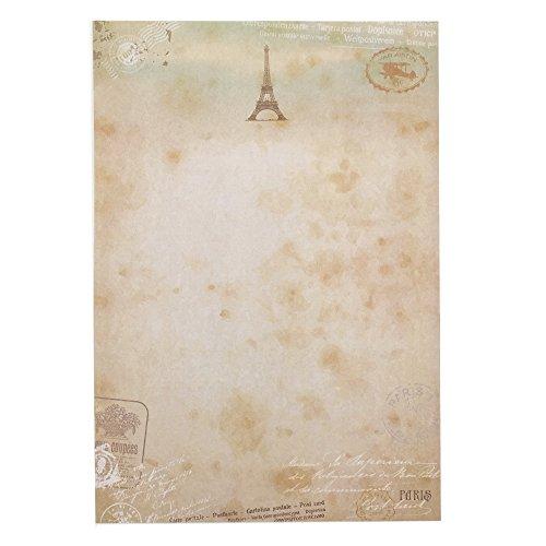 QingLanJian 48 Vintage Retro Postmark Eiffel Tower Writing Paper Stationary Set