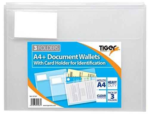3pk High Grade A4 Clear Plastic Document Wallets Flap Closure Files