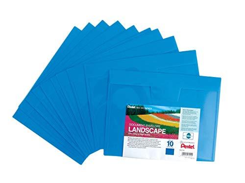 A4 Plastic Document Wallets Pack 10 Envelope LANSCAPE Like Stud Poppers Wallet Blue