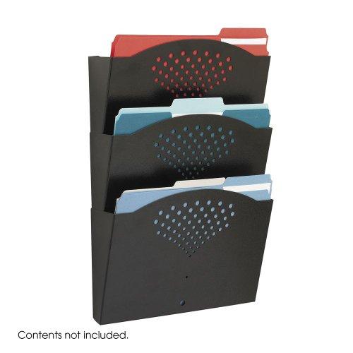 3172BL Safco Steel Wall Pocket - 18 Height x 12 Width x 35 Depth - 3 Pockets - Steel - Black