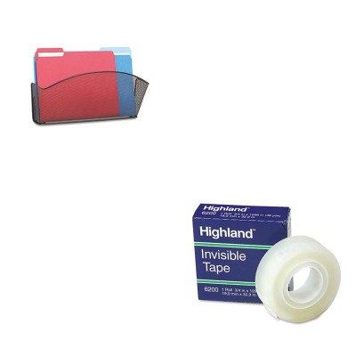 KITMMM6200341296SAF5653BL - Value Kit - Safco Onyx Steel Wall Pocket SAF5653BL and Highland Invisible Permanent Mending Tape MMM6200341296