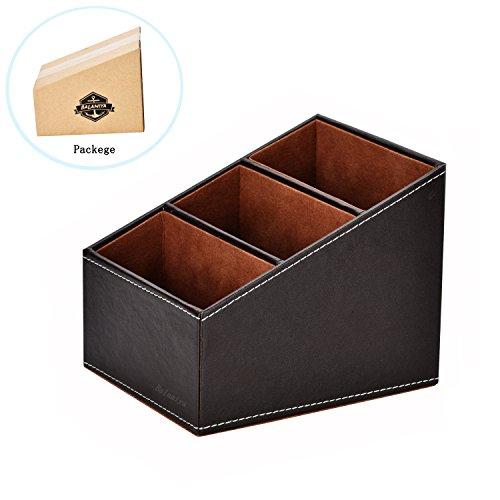 Balamiya 3 Slot trapezoidal PU Remote controlcontroller TV GuidemailCD organizercaddyholder with Storage box caddy holder Brush pot Desktop Finishing Box Brown