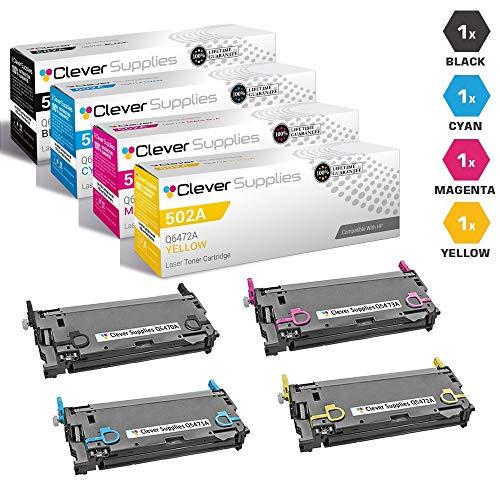 CS Compatible Toner Cartridge Replacement for HP 3505n Q6470A Black Q6471A Cyan Q6472A Yellow Q6473A Magenta HP 501A 502A Color Laserjet 3600N 3600DN 3800N 3800DN 3800DTN CP3505N 4 Color Set