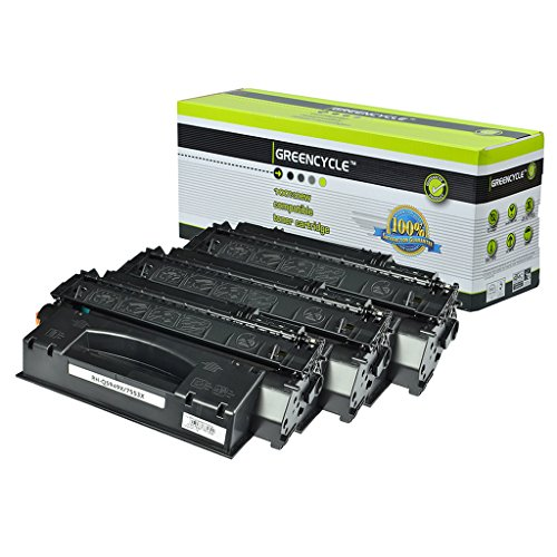 GREENCYCLE 3 Pack Q7553X 53X Black Toner Cartridge Compatible For HP LaserJet P2015dn M2727nfs MFP Laser Printer