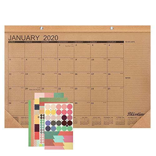 Blisstime Desk Calendar 2020 - 17x 12 Inch Runs from January 2020 Till December 2020 12 Months Rustic Wall Calendar Desk Pad Blotter for Office School or Home