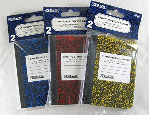 3 Pk Bazic Mini Marble Composition Book 45 X 325 Inch 2 Per Pack