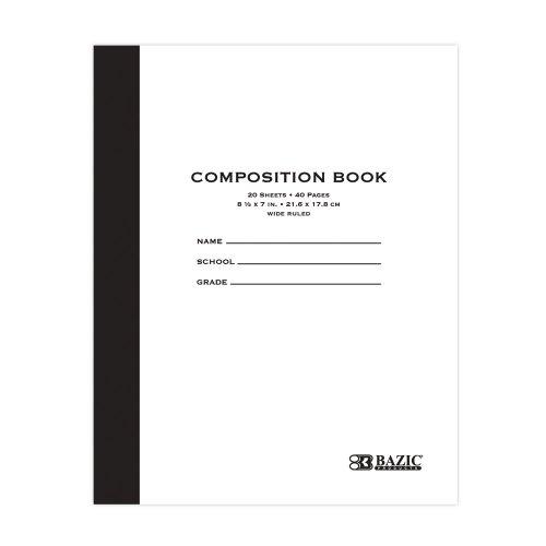 BAZIC 20 ct 85 x 7 Manila Cover Composition Book Case of 24 5096-24