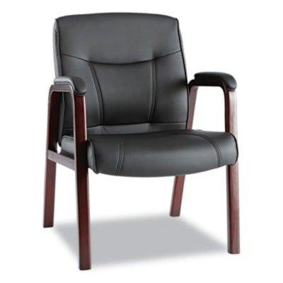 Alera MA43ALS10M Madaris Leather Guest Chair wWood Trim Four Legs BlackMahogany