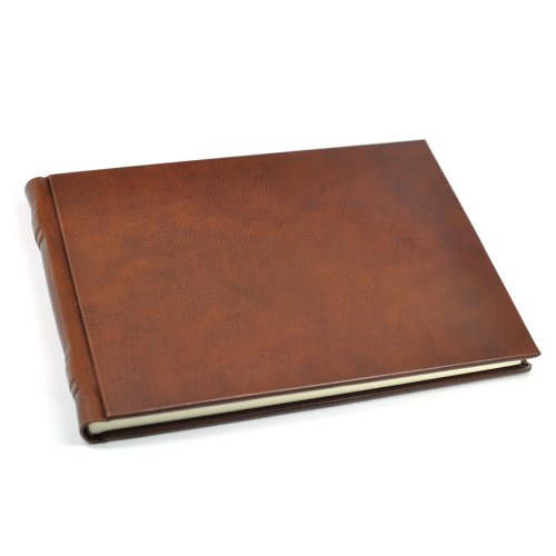 Italian Leather Guest Book from Fiorentina - Lined Pages - Brown Calfskin