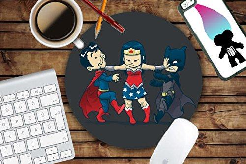 Cute Chibi Batman Wonder woman and Superman Mousepad - Mat - Round Love Kawaii Marvel - Mouse pad Co worker Gift