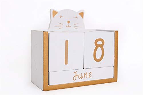 White Wooden Cat Perpetual Calendar Block