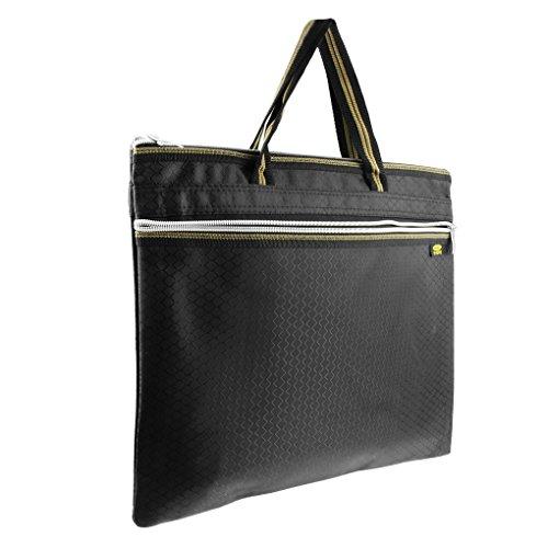 Durable Waterproof Envelope Zipper File Holder Handbag Multi-layer A4 Document Data Storage Container Organizer Travel Business Portfolio Briefcase Tote Black
