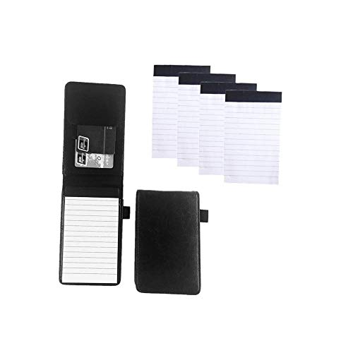 Mini Pocket Notepad Holder Included with 50 Lined SheetsRefillablewith Notebook RefillsMemo Book Refills 5 Pack 3x5 Inch Sized Writing Pad with 30 Lined Paper Per Note Pad Black