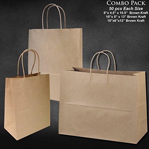 8x475x10-10x5x13-16x6x12 - 50 Pcs Each - Bagsource Brown Kraft Paper Bags 95 POST CONSUMER MATERIALS FSC CERTIFIED