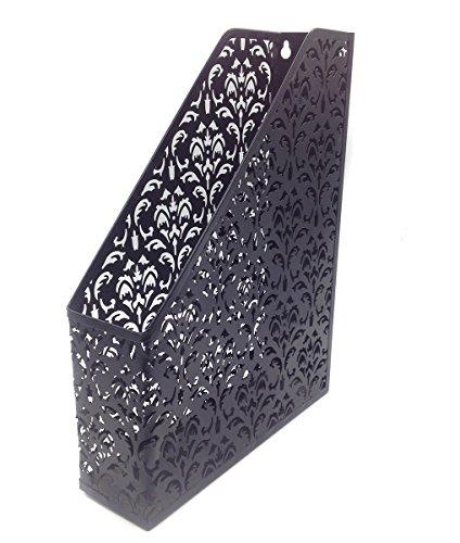 EasyPAG Carved Hollow Flower Pattern Office Desk File Holder Magazine Organizer Black